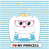 Cute dog girl princess in in glasses with a crown on his head. Vector illustration Royalty Free Stock Photo