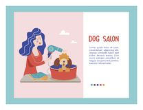 Vector illustration for pet hair salon, styling and grooming shop, pet store for dogs and cats. Cute dog at groomer salon.Vector illustration for pet hair salon stock illustration