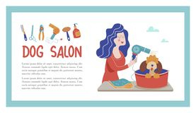 Vector illustration for pet hair salon, styling and grooming shop, pet store for dogs and cats. Cute dog at groomer salon.Vector illustration for pet hair salon royalty free illustration