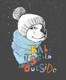 Cute dog in a hat and scarf.. Baby it`s cold outside phrase. Hand-drawn illustration of a pencil technique. Design for poster, T-shirt print, cards, banners Stock Photography