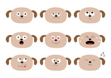 Cute dog head set. Funny cartoon characters. Emotion collection. Happy, surprised, crying, sad, angry puppy. White background. Iso. Cute dog head set. Funny royalty free illustration