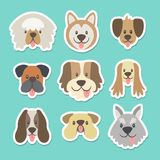 Cute dog head sticker collection. Cute sticker collection with different heads of dogs in cartoon style. Vector illustration Royalty Free Illustration
