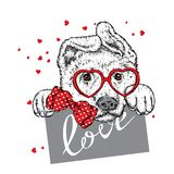 Cute dog with hearts, glasses and a tie. Vector illustration for a postcard or a poster, print for clothes. Valentine`s Day, love and friendship. Purebred Royalty Free Stock Images