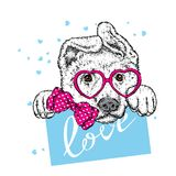 Cute dog with hearts, glasses and a tie. Vector illustration for a postcard or a poster, print for clothes. Valentine`s Day, love and friendship. Purebred Royalty Free Stock Photo