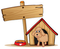 A cute dog at his dog house. Illustration of a cute dog at his dog house on a white background Stock Photo