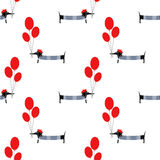 Cute dog holding balloons seamless pattern on white background. Royalty Free Stock Image