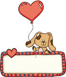 Cute dog holding heart balloon with love blank sign. Scalable vectorial image representing a cute dog holding heart balloon with love blank sign, isolated on Royalty Free Stock Photo