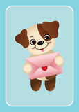 Cute dog holding love envelope Royalty Free Stock Photos