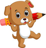 Cute dog holding pencil Stock Photography