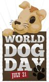 Dog Holding a Wooden Greeting Sign for World Dog Day, Vector Illustration Royalty Free Stock Image