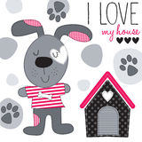 Cute dog with house vector illustration. Dog with house vector illustration Stock Photography