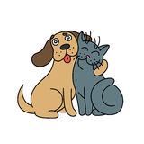 Cute dog hugs cat. vector illustration. Stock Photography