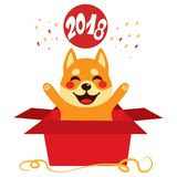 2018 Dog Red Box Surprise Royalty Free Stock Photo