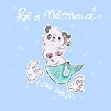 Cute dog, mermaid, shell with slogan.