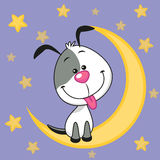 Cute Dog on the moon Royalty Free Stock Images