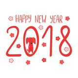 Cute dog New Year greeting card Stock Photos
