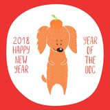 Cute dog New Year greeting card Stock Images