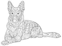 Adult coloring page a cute isolated dogal for relaxing.Zen art style illustration. royalty free stock images