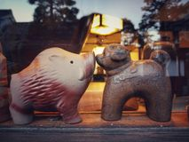Cute dog and pig craft in Imbe village, Okayama royalty free stock photography