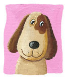 Cute dog on the pink background. Acrylic illustration of cute dog on the pink background Royalty Free Stock Photo