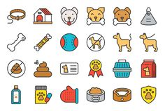 Cute dog related icon set such as collar, pet not allowed sign,. Bowl, medicine, grooming equipment, outline editable stroke royalty free illustration