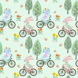 Cute dog riding bicycle in the park seamless pattern. stock illustration