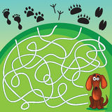 Cute Dog's Game. Help dog find his footprint stock illustration
