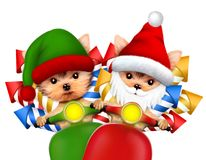 Cute Dog Santa and Elf carry firework on a scooter. Cute Dog Santa and Elf carry firework rockets on a scooter. New Year vacation and Merry Christmas concept Royalty Free Stock Images