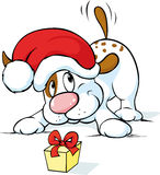 Cute dog with santa hat and gift - vector Royalty Free Stock Image