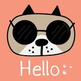 Cute Dog With Say Hello. Vector Illustration. vector illustration