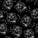 Cute dog seamless pattern on black background Royalty Free Stock Photo