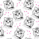 Cute dog seamless pattern on a white background Stock Image