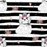 Cute dog seamless pattern on a white background Stock Photography