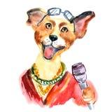 Cute dog sings karaoke vector illustration