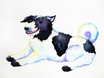 Cute dog sitting smiling watercolor painting art hand drawing. Illustration Royalty Free Stock Photography