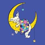 Cute dog sleeps on the Moon. Royalty Free Stock Photo