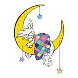 Cute dog sleeps on the Moon. Royalty Free Stock Image