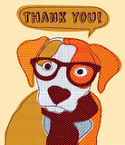 Cute dog thank you card patchwork. Royalty Free Stock Image