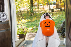 Cute Dog Trick or Treating Royalty Free Stock Photo