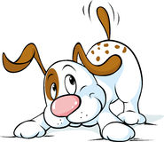 Cute dog wags his tail and wants to play - vector