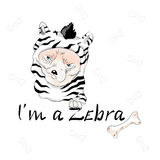Cute dog wearing like zebra with slogan. Vector baby patch for fashion apparels, t shirt, stickers, embroidery and printed tee design stock illustration