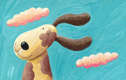 Cute dog in the wind. Acrylic illustration of the cute dog in the wind Royalty Free Stock Images