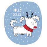 Cute dog winter holidays greeting card Stock Image