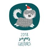 Cute dog winter holidays greeting card. Hand drawn winter holidays greeting card with cute funny cartoon dog in a hat, typography. Isolated objects on white Royalty Free Stock Image