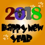 Cute dog Year Greeting card material 2018 Stock Photos