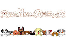 Cute dogs border set Stock Photography