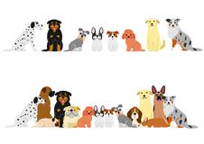 Cute dogs border set. Various Cute dogs border set royalty free illustration