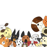 Cute dogs card. Card with various breeds of cute dogs stock illustration