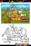 Cute dogs cartoon coloring book Royalty Free Stock Photos