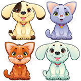 Cute dogs and cats. royalty free illustration